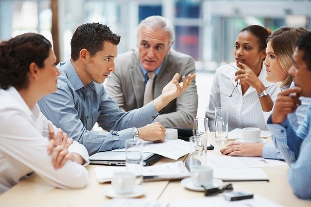 people talking during a business meeting